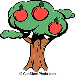 Apple tree icon cartoon