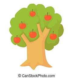 Apple tree icon, cartoon style