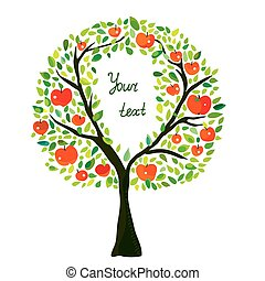 Apple tree illustration with frame