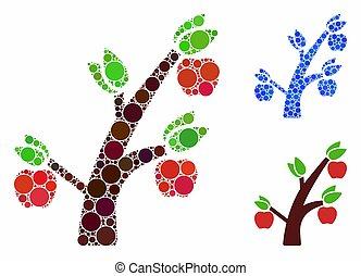 Apple tree Mosaic Icon of Round Dots