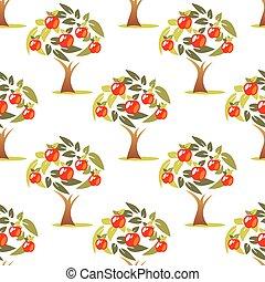 apple tree seamless pattern