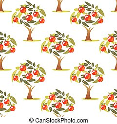 apple tree seamless pattern