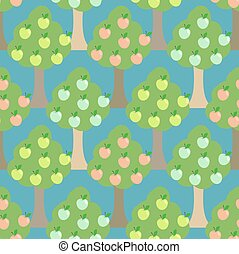 Apple tree seamless pattern.