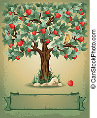Apple tree - Vintage background with apple tree and place...
