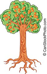 apple tree with apples and roots, isolated object on a white background, vector illustration,