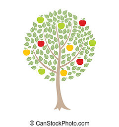 Apple-tree with apples on a white background. A vector...