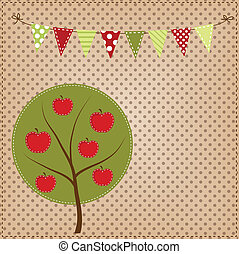 Apple tree with bunting or banner