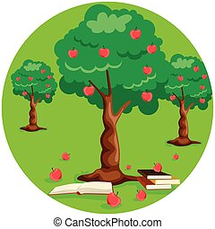 apple tree with red apples and stack of book on ground
