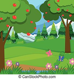 Apple trees in the orchard