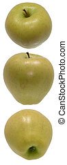 Top, middle, bottom view of a Golden Delicious apple. Shot on white.