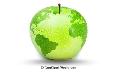 Apple turning as the earth on white background