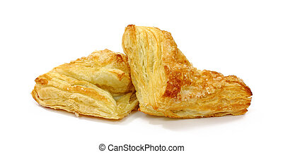 Two freshly baked apple turnovers on a white background.