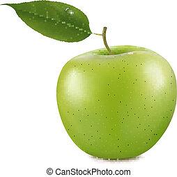 apple., vecteur, vert