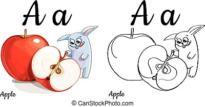 Apple. Vector alphabet letter A, coloring page