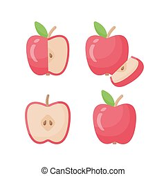 Apple vector flat icon set