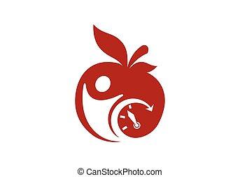 Apple vector illustration design icon logo template, Diet logo concept