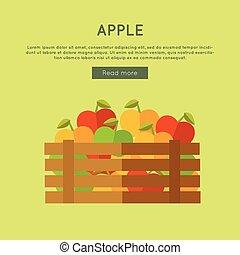 Apple Vector Web Banner in Flat Style Design.