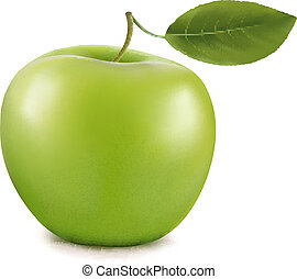 apple., vektor, grün