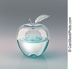 Apple water glass - Apple with leaf, made of glass and half...