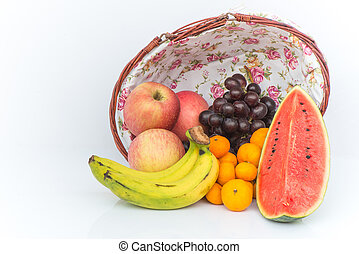 Apple, Watermelon, Orange, Grape and Banana are Fruits cool effects on wooden basket background