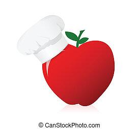 apple wearing a chefs hat.