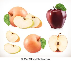 Apple. Whole and pieces. Sweet fruit. 3d vector icons set. Realistic illustration