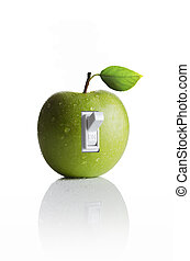 Green apple with a light switch