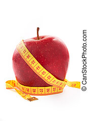 Apple with a measuring tape.