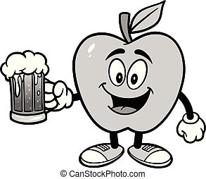 Apple with a mug of Beer Illustration