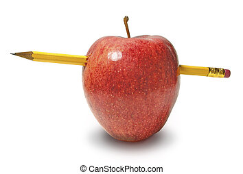 Apple with a Pencil Stuck Through It on White