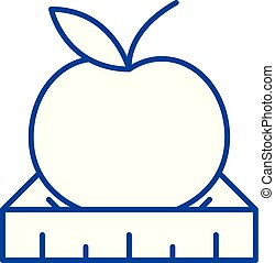 Apple with a ruler line icon concept. Apple with a ruler flat vector symbol, sign, outline illustration.