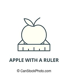 Apple with a ruler vector line icon, outline concept, linear sign