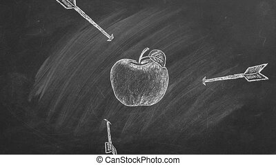 Apple with arrow drawn in chalk. All arrows missed the target. Fail, loser, unsuccessful. Arrows Off Target. Unsuccessful strategy concept. Animated Illustration on the blackboard