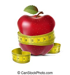 Apple with centimeter - Red apple with centimeter on a white...