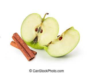 apple with cinnamon on white background
