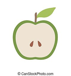 Apple with green leaf. Flat Vector Icon Illustration, isolated on white Background