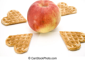 Apple with heart waffles