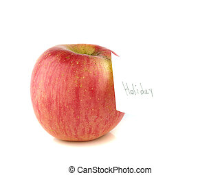 Apple with Holiday label