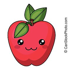 apple with kawaii face design