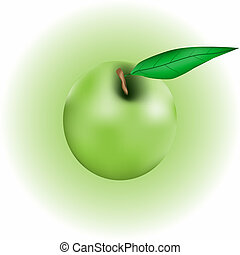 Apple with leaf on green