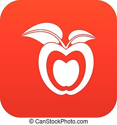 Apple with leaves icon digital red