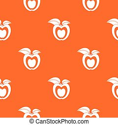 Apple with leaves pattern seamless