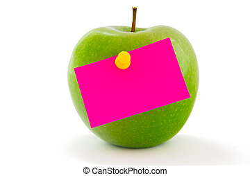 Apple with memo sticker