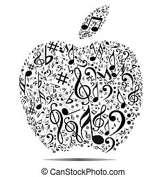 Apple with music symbols