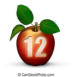 Number 12. The number twelve painted on a boat shed door. on