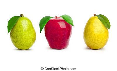 Apple with pear - Beautiful apple with pear on white...