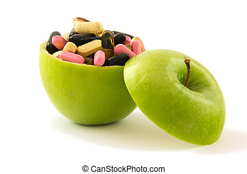 Apple with pills
