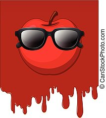 Apple with red dripping background