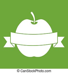 Apple with ribbon icon green