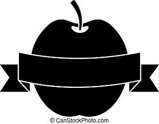 Apple with ribbon icon, simple style